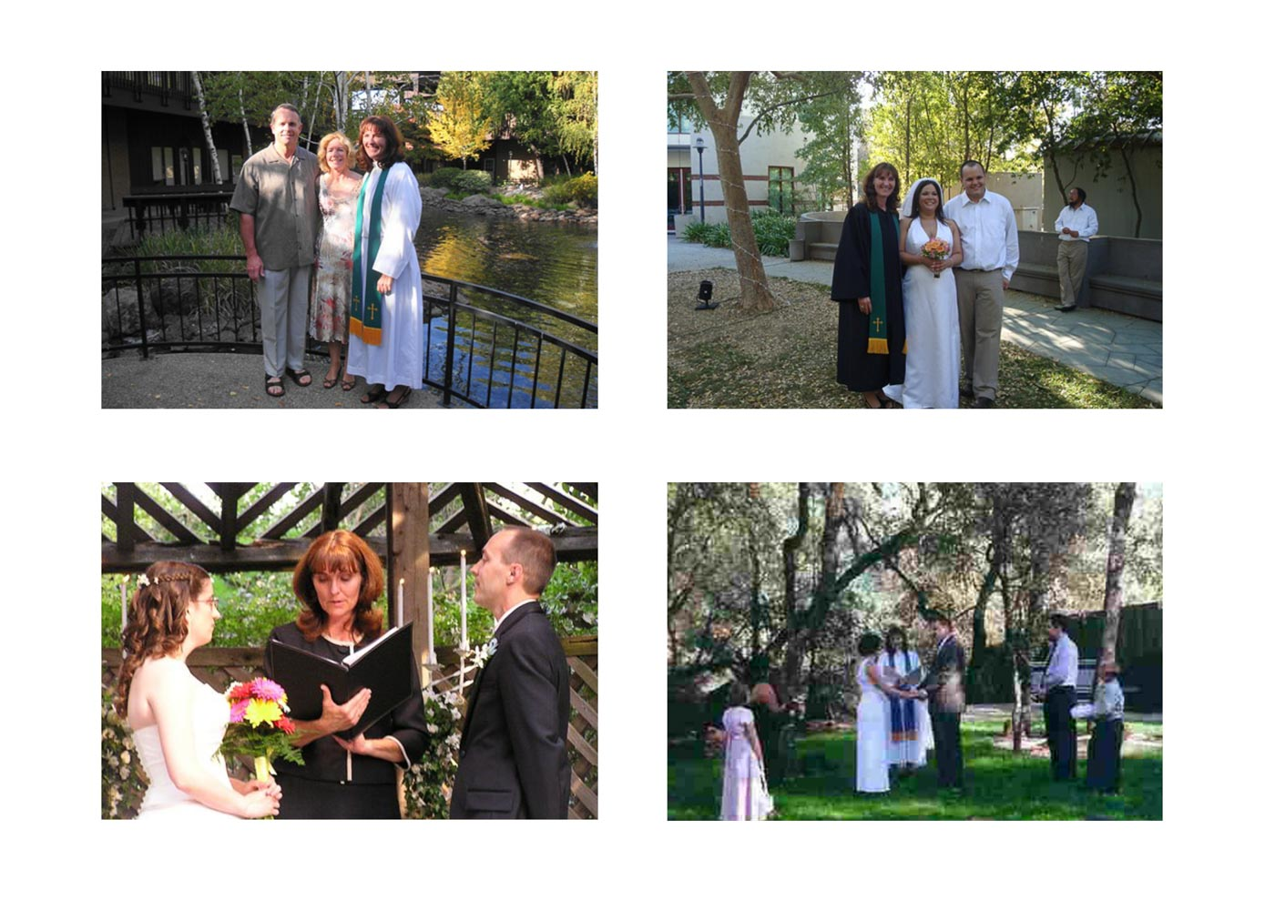 Four-photo collage of wedding ceremonies