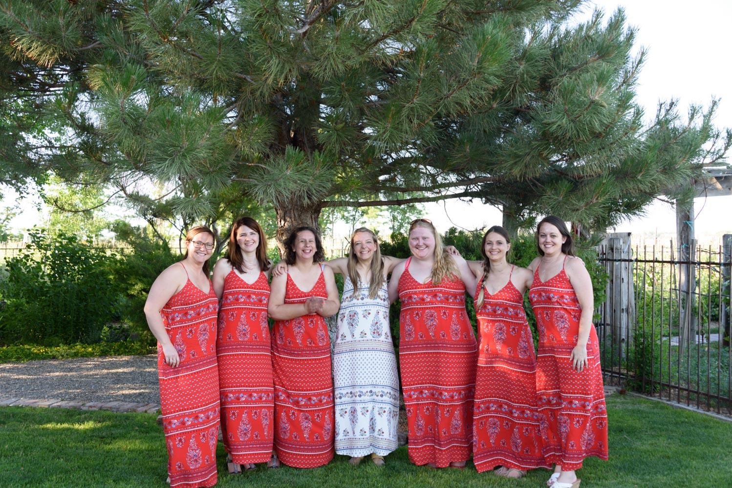 Bride in white dress with six attendants in red dresses