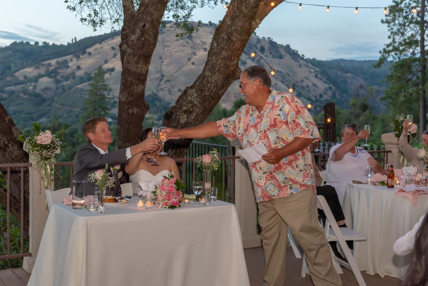 Standing best man toasting seated bride and groom, with foothills and forest in background