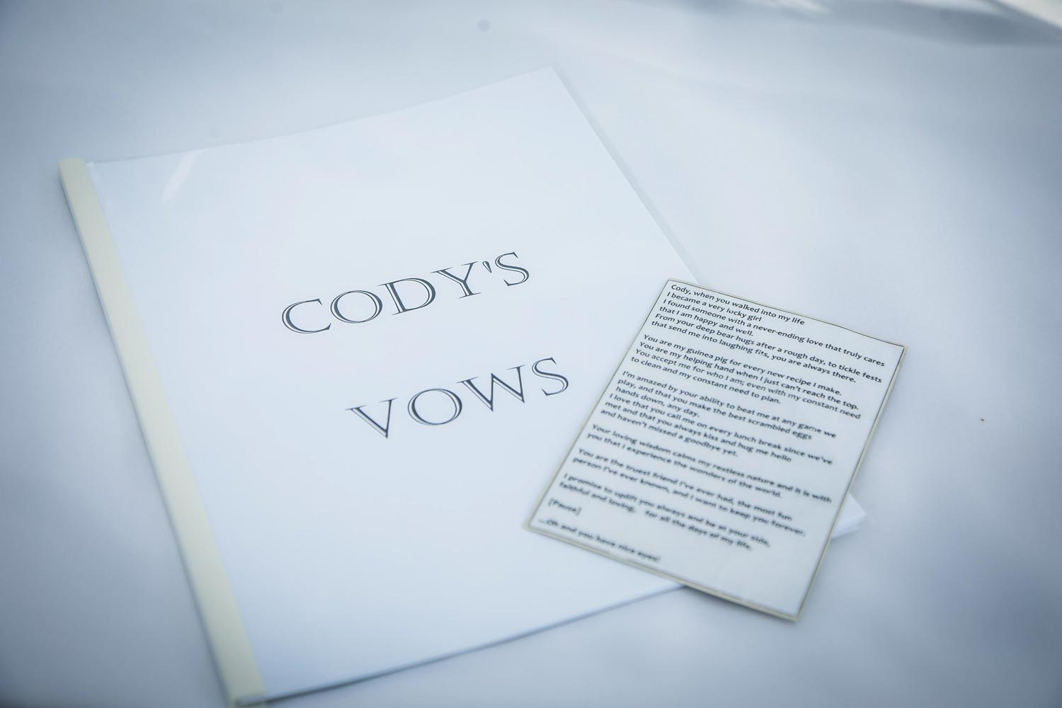 Two sizes of vows, large and simple, and small and dense