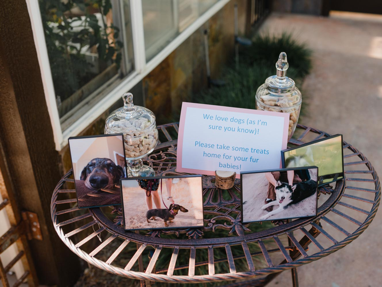 Metal table with photos of two dogs and jar filled with dog treats as wedding favors.