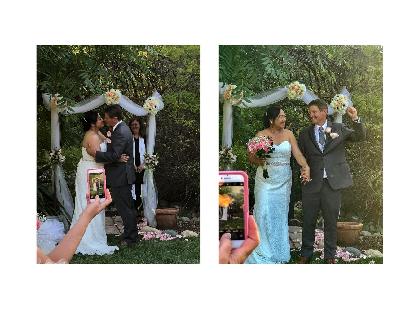 Two-photo collage with bride and groom kissing, and then smiling and walking down the aisle