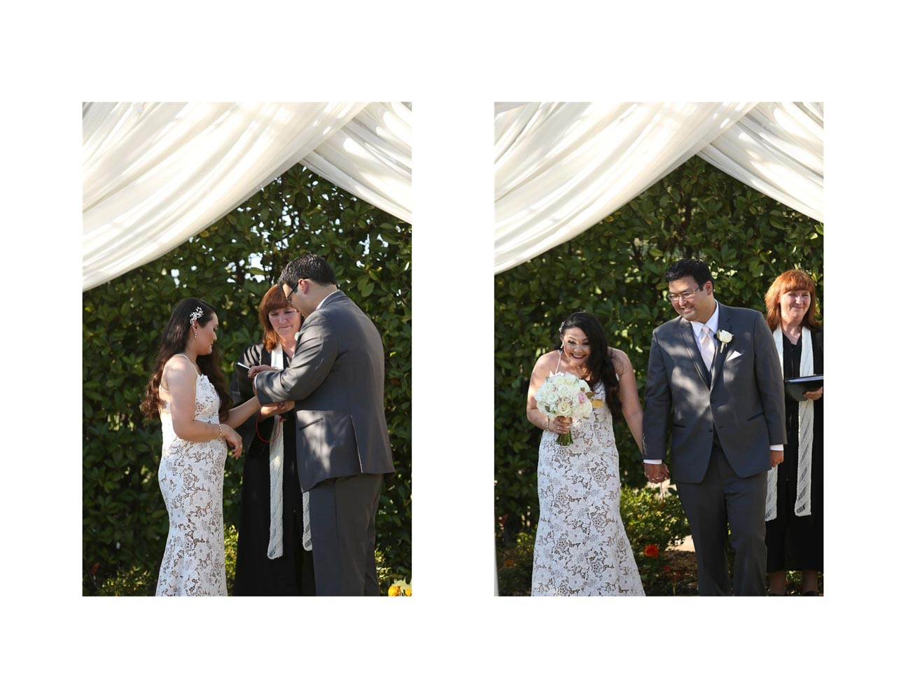 Two-photo collage of bride and groom tying red string of fate on each other's wrist, and then smiing at end of wedding ceremony