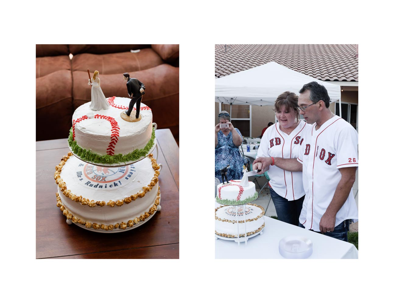 Two-photo collage of baseball-themed wedding cake