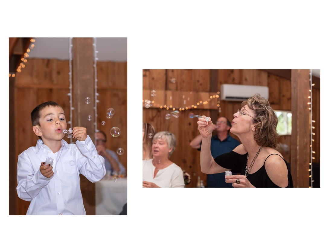 Two-photo collage of young boy and adult females blowing bubbles during wedding reception.