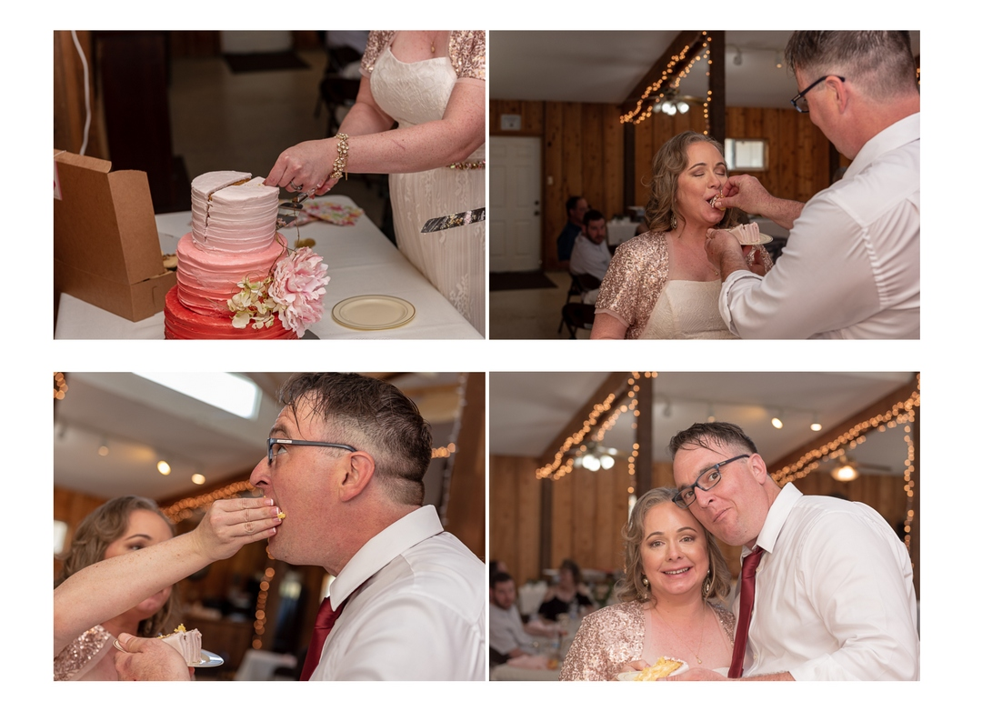 Four-photo collage of bride and groom cutting wedding cake, feeding cake to each other, and smiling for the camera.