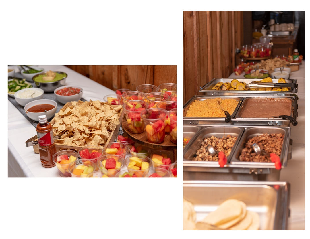 Two-photo collage taco bar with chips, salsa, tortillas, meat and beans.