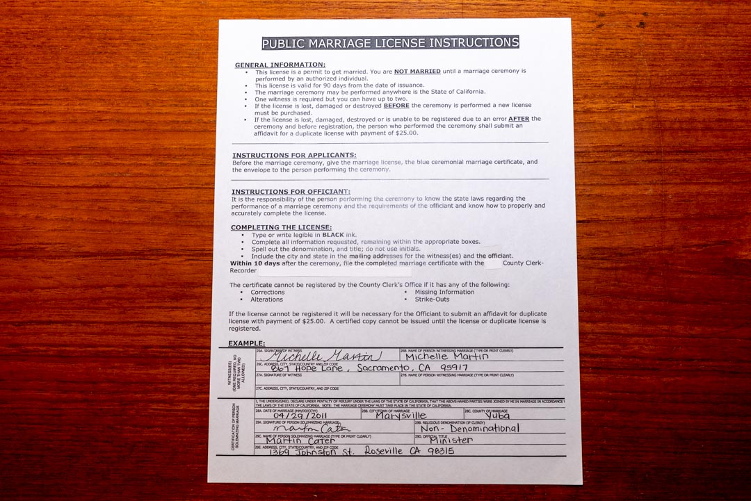 "One-page form, issued by Yuba County Clerk, entitled ""Public Marriage License Instructions."""