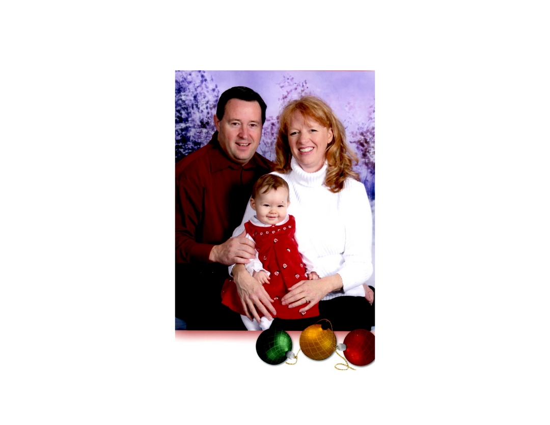 Man, woman, baby, family, holiday card