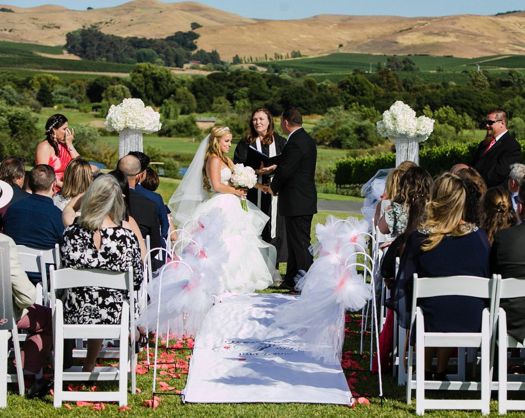 Bride and groom holding hands, while officiant speaks and guests listen to wedding ceremony. Rolling hills and green grass landscape in the background.