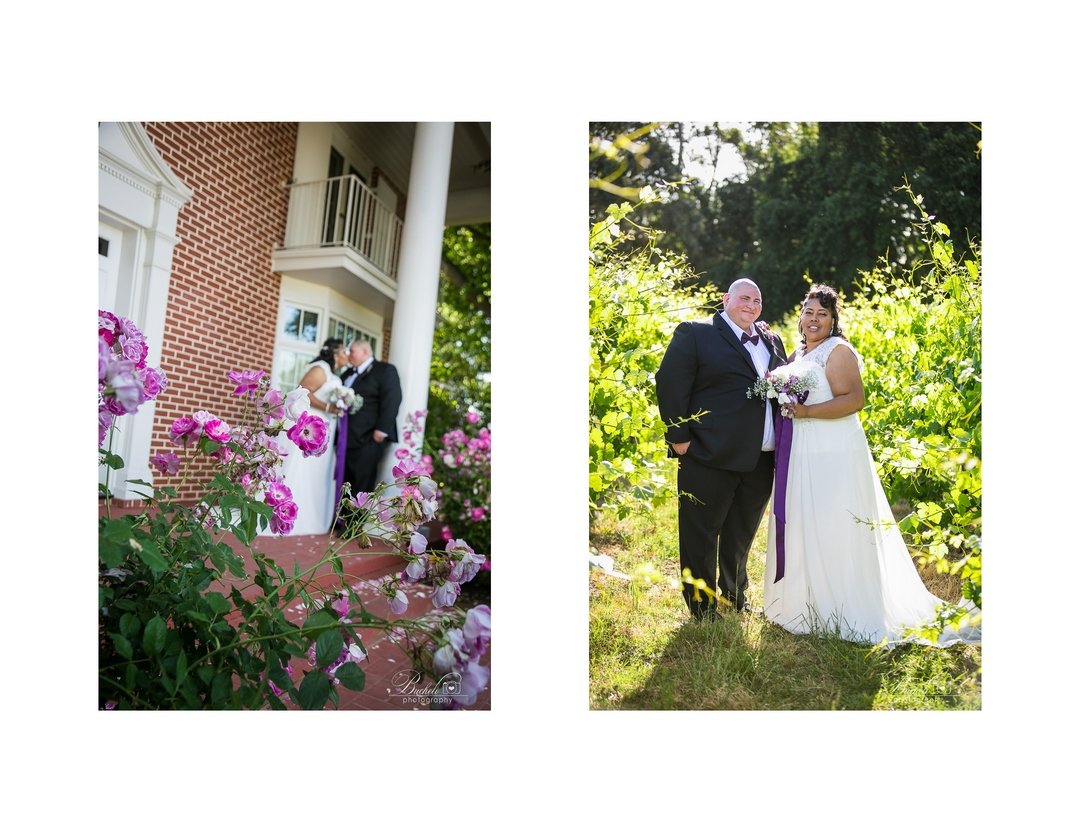 Two portrait photos of bride and groom, one with brick house background, and one while they are standing in a green vineyard.